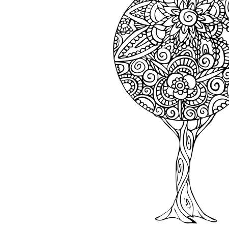 abstract flowers: Tree illustration with black and white mandala design, hand drawn floral decoration in traditional ethnic style. EPS10 vector.