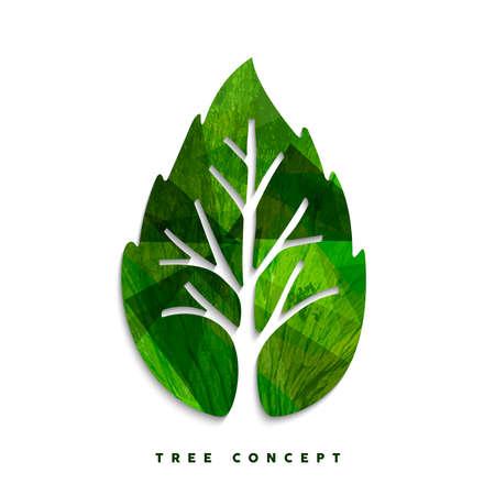 Groen boomblad textuur concept ontwerp voor milieuzorg of natuurhulp project. EPS10 vector. Stock Illustratie