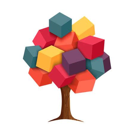 다채로운 큐브 셰이프 나뭇잎, 개념 그림 디자인으로 추상 3d 나무. EPS10 벡터입니다. 일러스트
