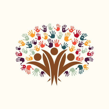 人々 のシルエットと手形の木のシンボル。多様なコミュニティ組織、環境プロジェクトまたは社会福祉の概念図。EPS10 ベクトル。