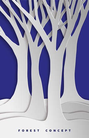 cut paper: Tree forest concept design in 3d paper cut style for environment care or nature help project. EPS10 vector. Illustration