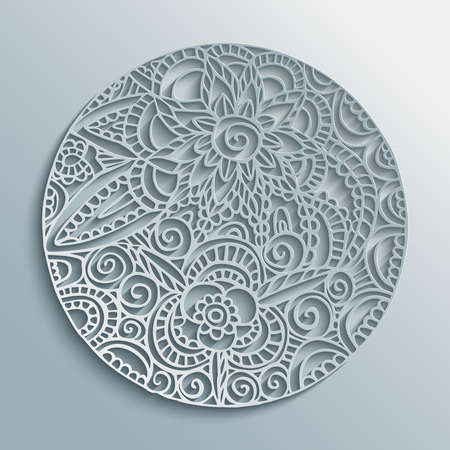 Mandala 3d paper cut design with floral decoration, traditional ethnic style illustration. EPS10 vector. Çizim