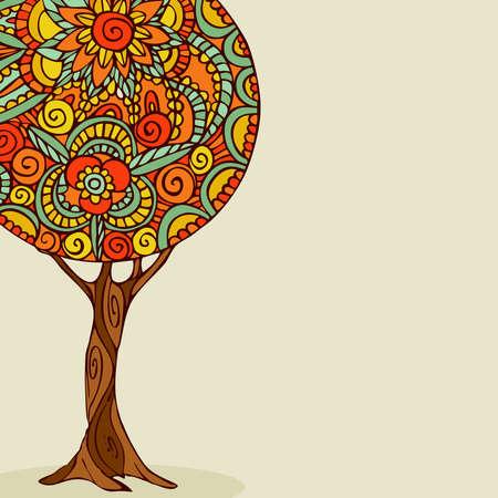전통적인 만다라 디자인 트리 그림, 민족적인 boho 스타일의 손으로 그린 꽃 장식. EPS10 벡터입니다. 일러스트