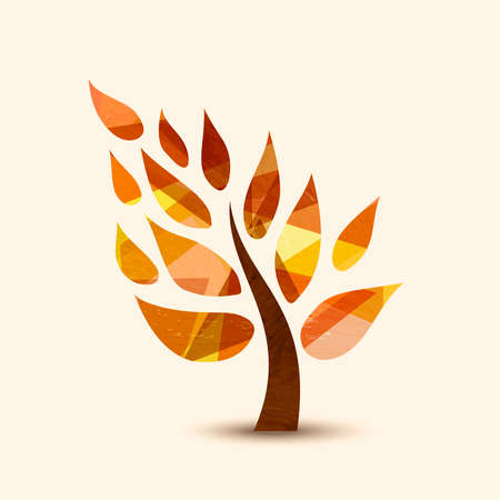 Simple tree symbol with autumn leaves. Concept illustration for environment care or nature help project. EPS10 vector. Illustration