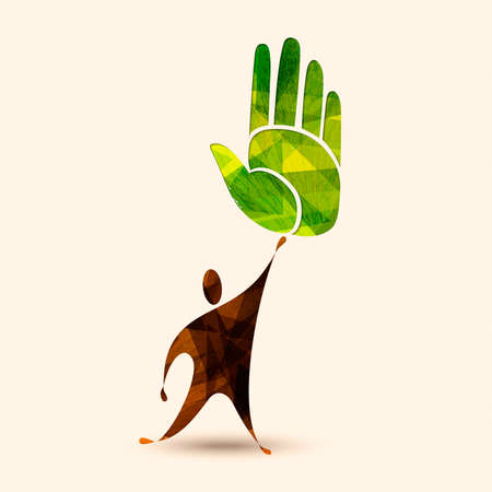 Green hand symbol with human silhouette. Concept illustration for environment care or nature help project. EPS10 vector.  イラスト・ベクター素材
