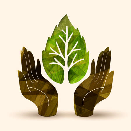 cultivate: Human hands holding green tree leaf symbol with nature texture. Concept illustration for environment care or help project. EPS10 vector.