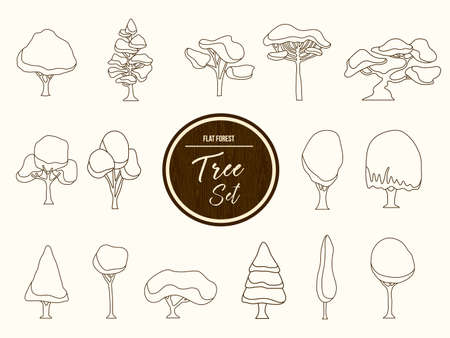 hand outline: Set of hand drawn forest trees, outline template collection for coloring book or decoration. EPS10 vector. Illustration