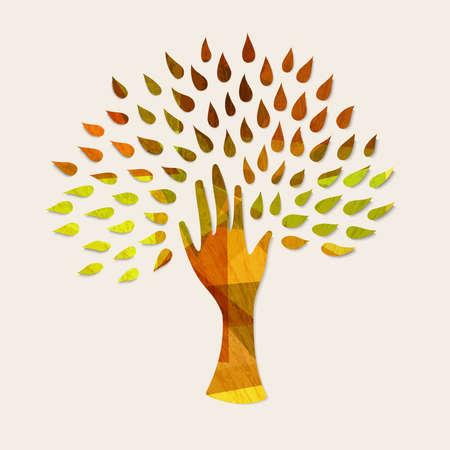 Art de l'art de la main avec la texture du bois et les feuilles d'automne. L'illustration conceptuelle pour les soins de l'environnement ou la nature aide le projet. Vector EPS10. Banque d'images - 80179864