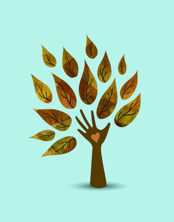 Hand tree art with wood texture and autumn leaves. Concept illustration for environment care or nature help project. EPS10 vector.