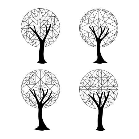 Set of abstract trees with geometric shapes, outline template collection for coloring book or nature decoration. EPS10 vector. 向量圖像