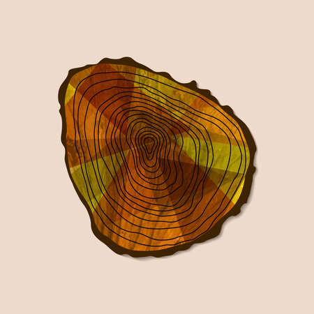 Cut tree trunk art with wood texture from top view. Concept illustration for environment care or nature help project. EPS10 vector.