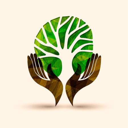 Menschliche Hände, die grünes Baumsymbol mit Naturbeschaffenheit halten. Konzeptillustration für Umweltpflege oder Hilfsprojekt. Eps10 Vektor.
