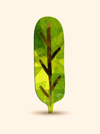 Green tree art with nature texture. Concept illustration for environment care or ecology help project. EPS10 vector.