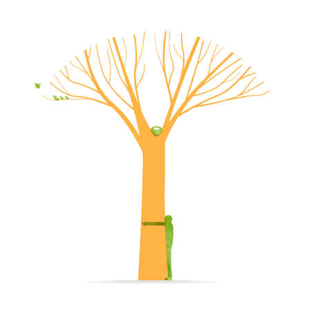 Tree hug illustration with man silhouette and birds, environment love concept design for nature help project. EPS10 vector.