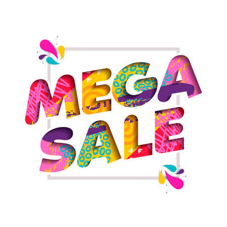 Mega sale in vibrant colors quote for big special offer discount, modern typography in 3d paper cut style.