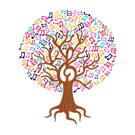 Tree with musical note decoration. Concept illustration for nature help or live music. EPS10 vector. Ilustracja