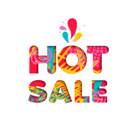 Hot sale multicolor text quote, typography design in 3d paper cut style. Big special offer discount advertising. Illustration