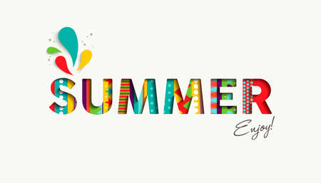 holiday party: Enjoy summer vacation color quote for happy holiday season, modern typography in 3d paper cut style.