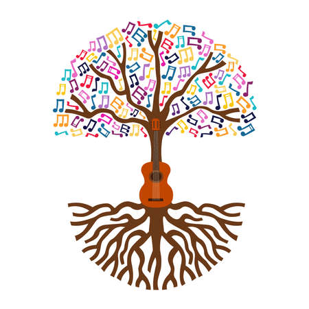 Guitar tree with musical note decoration. Concept illustration for nature help or live music.