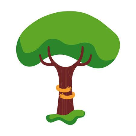 ツリー抱擁の図素敵な人間の手で自然のヘルプ プロジェクトの環境愛コンセプト デザイン。  イラスト・ベクター素材