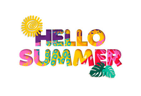 3d: Hello summer season color quote, typography design in 3d paper cut style. Fun tropical text illustration. Illustration