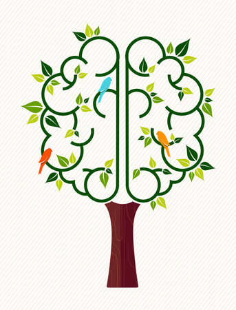 Think green concept illustration, tree with human brain and birds for environment care or nature help project. Vectores