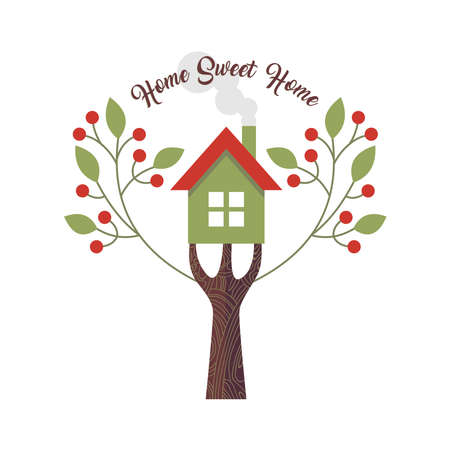 saying: Home sweet home love quote design with concept illustration of house and tree. Illustration