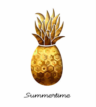 Summer time season tropical design, gold pineapple illustration in paper cut style with luxury texture. Illustration