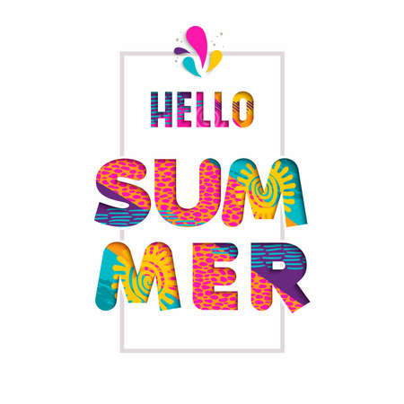 Hello summer season color quote, typography design in 3d paper cut style. Fun vacation text illustration. Illustration