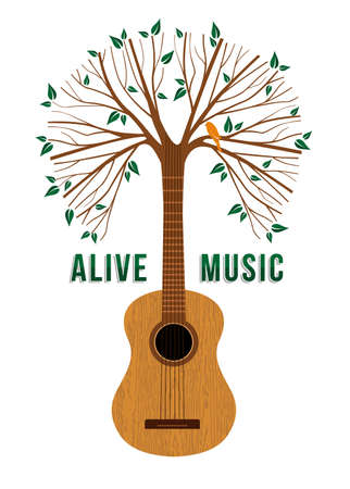 Guitar tree with bird and nature decoration. Concept illustration for environment care or live music poster.