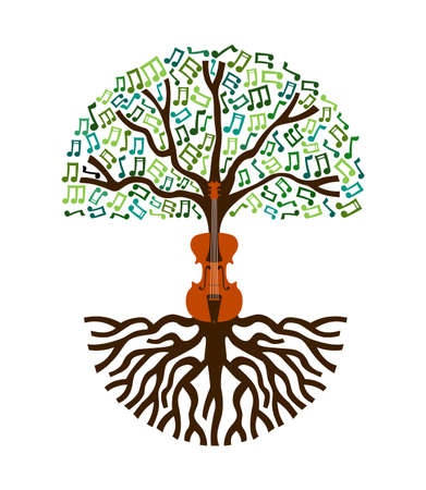 Violin tree with musical note decoration. Concept illustration for nature help or classical live music.