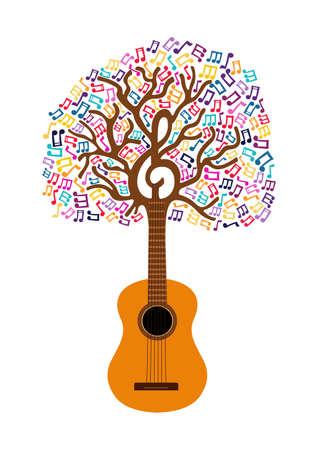 Guitar tree with musical note decoration. Concept illustration for nature help or live music. EPS10 vector.