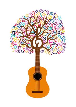 Drzewo gitarowe z dekoracją nutową. Koncepcja ilustracji dla natury pomocy lub muzyki na żywo. Wektor EPS10.