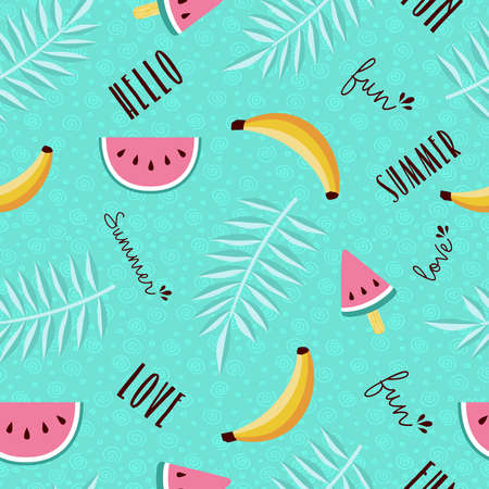 Happy summer tropical seamless pattern design with watermelon, banana, palm leaf and calligraphy quotes. EPS10 vector.