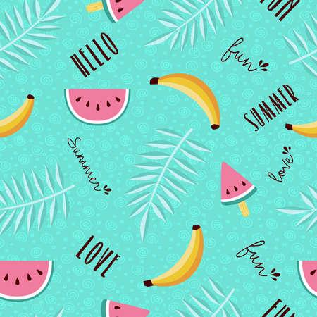 Het gelukkige ontwerp van het de zomer tropische naadloze patroon met watermeloen, banaan, palmblad en kalligrafiecitaten. EPS10 vector. Stock Illustratie