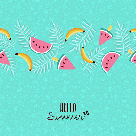 Happy summer greeting card design with tropical seamless pattern and typography quote. Includes banana, watermelon, palm leaf. EPS10 vector.