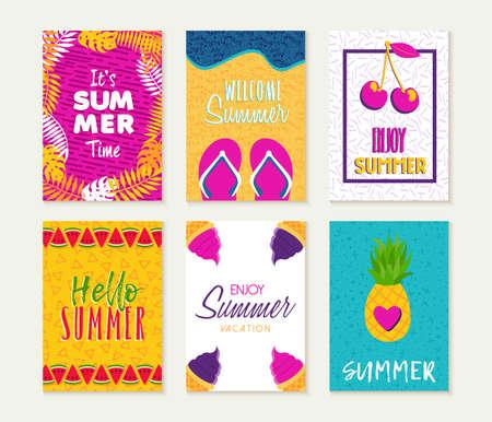 Zomer sjabloon set, zomer vakantie citaten met plezier seizoen illustraties; Ideaal voor wenskaarten, feestuitnodigingen, flyers of posters.