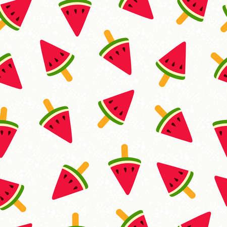 スイカのアイスクリーム イラストのシームレスなパターン デザインを夏, 夏の背景を楽しい。  イラスト・ベクター素材