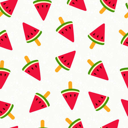 Summer seamless pattern design with watermelon ice cream illustration, fun summertime background.