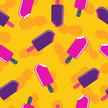 Summer seamless pattern design with colorful ice cream popsicle and pineapple art, happy summertime background. Иллюстрация