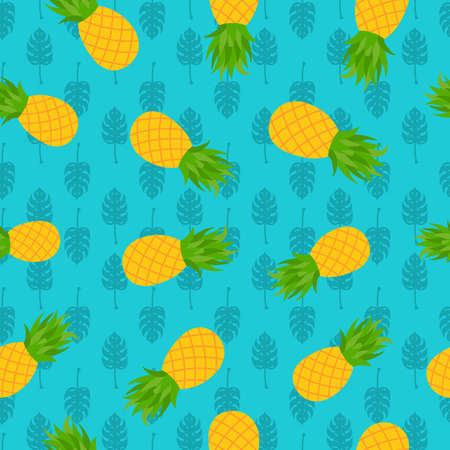 Pineapple seamless pattern with tropical palm leaf illustration, fun summer season background.