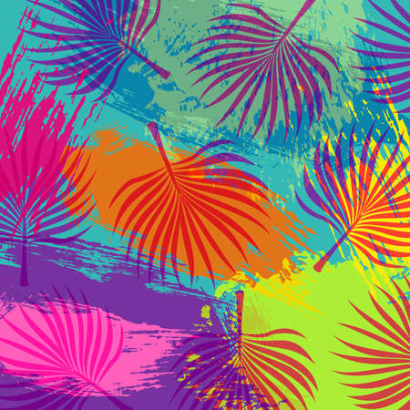 abstract flowers: Tropical summer background vibrant colors art with jungle palm tree leaves and watermelon ice cream illustration. EPS10 vector.