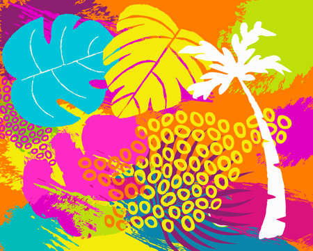 Tropical summer illustration with jungle plants, palm tree leaf and vibrant colors abstract hand drawn doodles. EPS10 vector.
