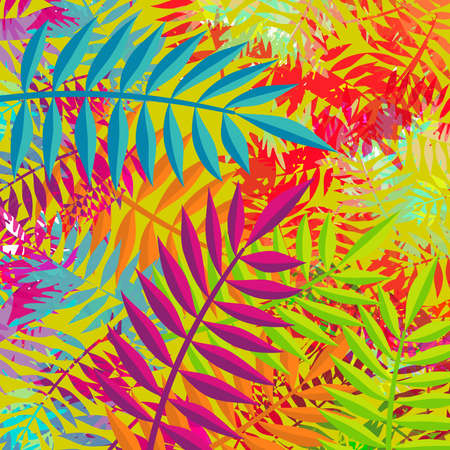 Tropical summer background vibrant color palette art with jungle palm tree leaves and abstract hand drawn texture. EPS10 vector.