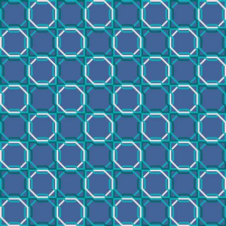 アラビア語のモザイクは、抽象的なブルー幾何学図形の装飾とのシームレスなパターンを並べて表示します。EPS10 ベクトル。
