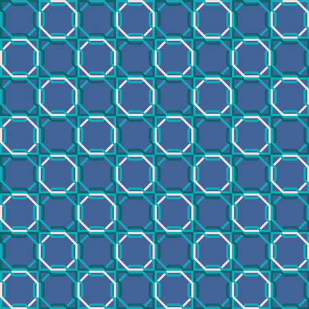 Arabic mosaic tile seamless pattern with abstract blue geometric shape decoration. EPS10 vector.