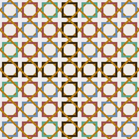 タイル張りの幾何学模様を古典的なアラビア語のモザイク タイルに触発さ。伝統的な東洋のムーア パターンに基づく現代のシームレスなパターンを  イラスト・ベクター素材