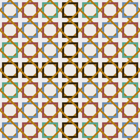 Tiled geometric pattern inspired by classic Arabic mosaic tile. Entwined modern seamless pattern based on traditional oriental Moorish patterns. Eps 10 vector.