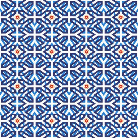 伝統的なアラビアのセラミック モザイク タイル東洋ムーアの幾何学的な図形パターンに基づくシームレスなパターンは。EPS10 ベクトル。  イラスト・ベクター素材