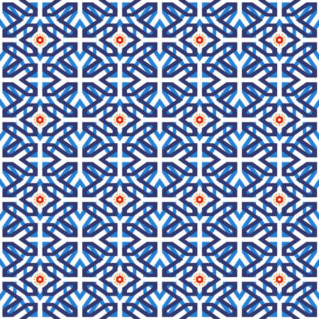 Traditional arabic ceramic mosaic tile seamless pattern based on oriental Moorish geometric shape patterns. EPS10 vector.